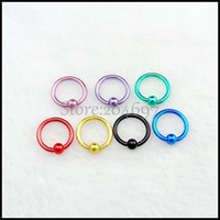 Wholesale 100pcs mm g Electrophoresis Color Surgical Steel Captive Bead Ring Tragus Earring BCR Hoop Nose Piercing Septum Ring