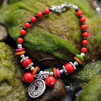 antique coral beads - Quality Antique Chinese Coin Tibetan Silver Blessing Wealth Peace Red Coral Beads Handmade Amulet Bracelet Ethnic Jewelry
