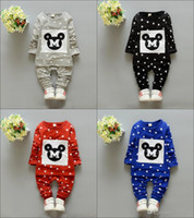 Model Pictures baby boy s clothes - Fashion Mickey Dot Baby Girls Boys Autumn Children Sets New O Neck Cheap Long Sleeve Top Plant Sets Kids Casual Clothing