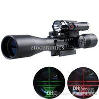Wholesale New Black Bu X40 E rifle gun airso ft hunting Scope scopes w Red Laser B Flash Torch Laser sight sight telescope