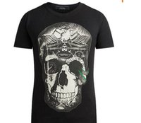 Wholesale 2016 Top quality New arrive Printed diamond skull slim fit tees man short sleeved men T shirts Black and white
