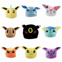 anime animal hats - Hot Cartoon Poke Mon Plush Caps Beanies Caps Embroidery Warm Kids Adult Plush Hats Caps Anime Cosplay Hats Animal Hats Beanies Hats PPA117