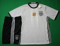 Wholesale Benwon Germanys home white football jersey thai quality designer football sets short sleeve sports uniform men s outdoor soccer kit
