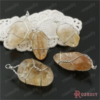 Cheap (29864)1 Piece height 30-40MM Natural Citrine Crystal Irregular Crystal Necklace Pendants Diy Jewelry Findings Accessories