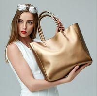Wholesale 2016 Fashion Women Bag Genuine Leather Large Capacity Tote Shoulder Bags Handbag Cowhide Cross body Handbags Plain Six Color