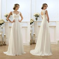 Wholesale Summer Beach Wedding Dresses Empire Cheap Long Bridal Gowns With Lace Cap Sleeves Pregant Soft Chiffon Vintage Maternity Gowns