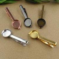 Wholesale high quality DIY men s t Tie Clip Blank with mm Round bezel setting findings