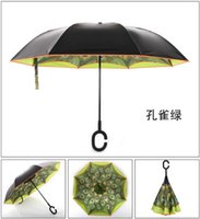 Wholesale 2016 new arrival two layers customized print reverse inverted umbrella with quot C quot shape handle Superior latest design fashion reverse umbrel