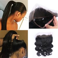 Wholesale 8A Grade Brazilian Hair Lace Frontal Closure quot quot Elastic Band Human Hair Frontal Closure With Baby Hair DHL Free