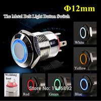 Cheap Wholesale-5-Colors Car Compurter Appliances DIY 12mm 12V Angel Eye Aluminum Metal LED Power Push Button Switch Self-reset Button Switch