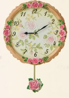 Wholesale 2016 Hot Sale New Arrival Resin Relief Rose Hanging Wall Clock Modern Europe Style Original Design Clock Home and House Hotel Store Decor
