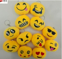 Wholesale 2017 New QQ emoji plush pendant Key Chains Emoji Smiley Small pendant Emotion QQ Expression Stuffed Plush doll toy for Mobile bag pendant