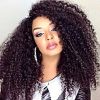afro hair supplies - Glueless Full Lace Afro Kinky Curly Wigs For Black Women Cheap Malaysian Silk Lace Front Human Hair Wigs Kinky Curls Top Wig Supplies