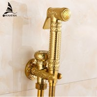 Wholesale Modern Golden Brass Bathroom Bidet Faucet Exquisite Carved With Hand Sprayer Gun