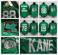 Wholesale 2016 New Men s Custom Chicago Blackhawks Jersey Jonathan Toews Corey Crawford Patrick Kane Green St Paddy s Day Team Jersey