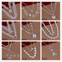 Wholesale Burst models women s sterling silver Necklace GTP54 fashion butterfly flower silver Necklace pieces a mixed style