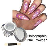 Wholesale 1 Box Holographic Laser Powder Nail Glitter Rainbow Pigment Manicure Chrome Pigments Nail Art Sequins Nail ManicureTools