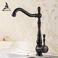 Wholesale Oil Rubbed Black Bronze Swivel Singe Handle Bathroom Basin Kitchen Deck Mounted Sink Mixer Tap Faucet R