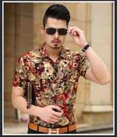 arab singles - Summer Europe US Arab New Tide Men Silk Cotton Blend Blouse blue Gold yellow floral print single breasted Uncle Casual Tops