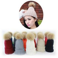 Wholesale 2016 new autumn winter hats High quality thickening Beanie Skull Caps wool ball knitted cap