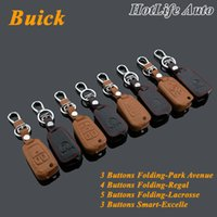 avenue leather - Genuine Leather Car Key Shell Fob Case Cover Keychain For Buick Excelle Lacrosse Regal Park Avenue Folding Key Rings Key Chain