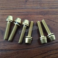 allen screw head - High quality Pieces Titanium Ti Allen Head M5x20mm golden Tapered head Screw bolt with Washer hot sale bicycle accessories