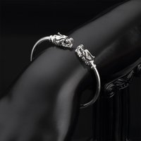 Wholesale Works Dragon Charm Bracelets Sterling Silver Jewelry Open Size Bangle Charm Bracelets and Bangles