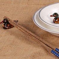 Wholesale Hot Sale Cute Chopstick Stand Ceramic Ware Duck Chopsticks Holder Rest Rack Porcelain Spoon Fork Home Decor New