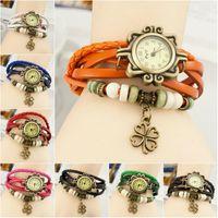 best digital compass - Best Retro Fashion Wristwatch Cheap Europe Wrapped Bracelet Watch Ms Clover Charm Student Vine White Red Green Blue Black Orange