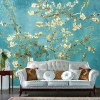 almond van gogh - Custom Mural Wallpaper European Nonwoven Sofa TV Backdrop Wallpaper Van Gogh Almond Oil Painting Bedroom Self adhesive Wallpaper