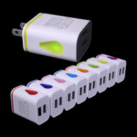 adapters window - Dual USB Port A Cute Travel Home Wall Charger Adapter US Plug With Light Window For Iphone Samsung Smartphones