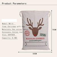 Wholesale 2016 Christmas Large Canvas Monogrammable Santa Claus Drawstring Bag With Reindeers Monogramable Christmas Gifts Sack Bags