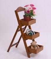Wholesale Zakka75x37x22cm Vintage Wood Three Layer Ladders Fleshy Flower Sundries Medicine Toys Cosmetic Storage Organizer Holders Racks Frames