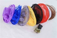 Wholesale Wedding Hats Feathers Hat Costume Marriage Gauze Cap Lady Women Church Derby Hat Wide Brim Cap Wedding Dress Tea Party Floral Bridal