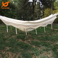 Wholesale SWIFT Outdoor High Quality LX150Wcm Cotton Canvas outdoor Person Portable Tassel Hammock Fringe Double Hammock