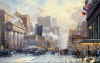 arts avenue - New York on Seventh Avenue Pure Hand painted CITY VIEWS Art Oil Painting Canvas any customized size accepted ants
