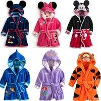Wholesale Cartoon Charactor Soft Warm Baby Girl Kids Boy hoodie Night Bath Robe Fleece Bathrobe sleepwear Homewear Pajamas Clothing hooded children