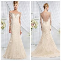 Wholesale 2016 Champagne Mermaid Wedding Dresses Tulle Sheer Crew Long Sleeve Illusion Back Button Lace Applique Beads Sequins Bridal Gowns