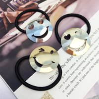 Cheap Hair Rubber Bands Emoji Hair Bands Best Silver Fashion Smile Face Hair Rubber Bands