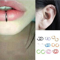 Wholesale 2Pcs Cool Fake Stud Earring Clip Piercing Body Nose Lip Goth Punk Ring Hoop Ear Syeer C00106 SMAD