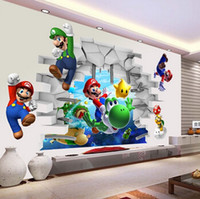 Wholesale Super Mario Wall Stickers for Kids Room PVC Wall Decal DIY Game Wall Art Bedroom Home Decor Cartoon D Stickers for Boys Children