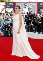 Wholesale Natalie Portman Ivory Celebrity Dress Evening Gowns With Cape rd Venice Film celebrity red carpet dress Pregnant Gowns custom made