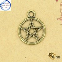 Wholesale DIY jewelry accessories Retro bracelet necklace alloy fittings Five pointed star with a circle Pendant