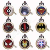 Wholesale Hot Poke Pocket Watches Cartoon Superman Spideman Iron man Watch Retro Women Men Pendant Necklace Watches Colors QQA375