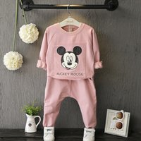 american girl t shirt pink - Autumn Winter Girl Clothes Outfits Set Mickey Mouse T shirt Pants Outdoor Kids Outfit Girls Sets Pink K8103