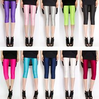 ballet pants - Womens Shiny Neon Leggings Plus Size Ladies Knee Length High Waisted Stretch Pants Sports Tight Legging Fitness Clothing Ballet Dancing Pant