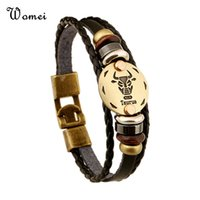 Wholesale 12 Zodiac Sings Bracelets Fashion Jewelry Leather Bracelets Men Casual Personality Alloy Vintage Punk Bracelet TB1164