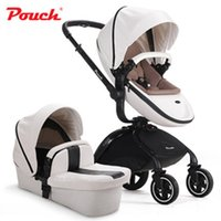 baby absorbers - New arrival pouch baby stroller PU leather high view folding two way baby pushchair with spring shock absorbers children trolley baby by