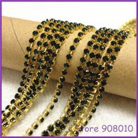 Wholesale Emerald Color SS6 TOP quality sewing crystal rhinestone cup chain gold copper metal base about for dress making