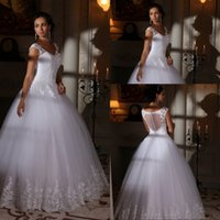 best western style - Bling Sparkle A Line V Neck Floor Length White Tulle Wedding Dresses With Appliques Lace Western Style Best Selling Wedding Gowns Bridal